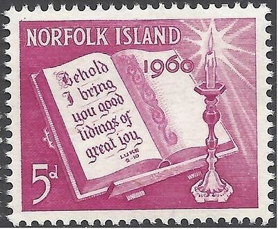 Norfolk Island 1960 CHRISTMAS, Bible and Candle (1) Unhinged Mint SG 41