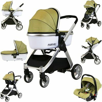 Marvel Combi 3in1 Travel System Pram Pushchair With Carrycot & Carseat Olive
