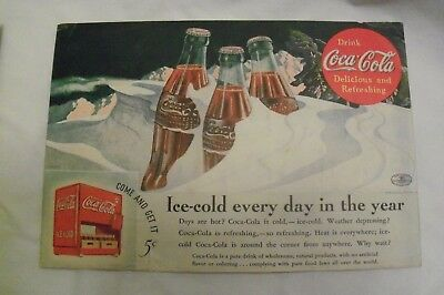 "1935 Original Coca Cola Ad - ""Ice cold every day of the year. "" 10"" x 7"" apx"
