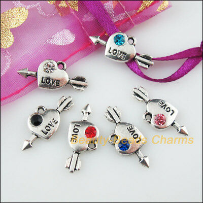 6 New Charms Heart Love Mixed Crystal Tibetan Silver Tone Pendants 10.5x21mm