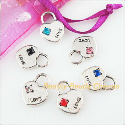 6 New Charms Heart Lock Mixed Crystal Tibetan Silver Tone Pendants 12.5x17mm