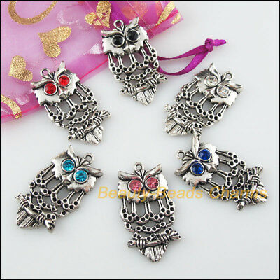 6 New Charms Animal Owl Birds Mixed Tibetan Silver Tone Pendants 19.5x34mm