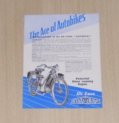AUTOBYK (Excelsior) De Luxe 98cc Motorcycle Specification Leaflet