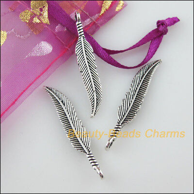 10 New Charms Leaf Feather Tibetan Silver Tone Pendants 6.5x37mm