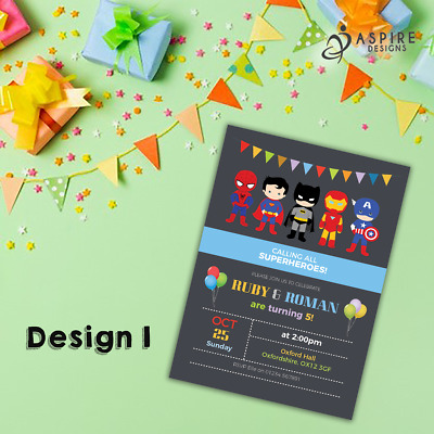 Personalised Superhero Invitations & Thank You Cards | Childrens Superhero Party