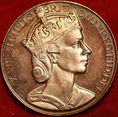 Uncirculated 1953 Queen Elizabeth Coronation Medal Foreign Coin FreeS/H