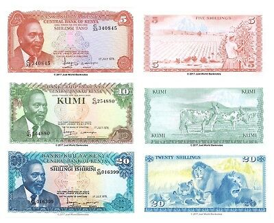 Kenya 5 + 10 + 20 Shillings 1978 Set of 3 Banknotes 3 PCS UNC