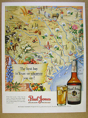 1950 Texas Map cities towns landmarks art Paul Jones Whiskey vintage print Ad