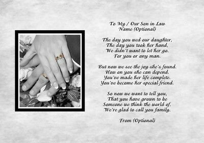 A4 Poem To My Our Son In Law On Your Wedding Day Gift For