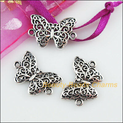 18 New Animal Butterfly Connectors Tibetan Silver Tone Charms Pendants 14x20mm