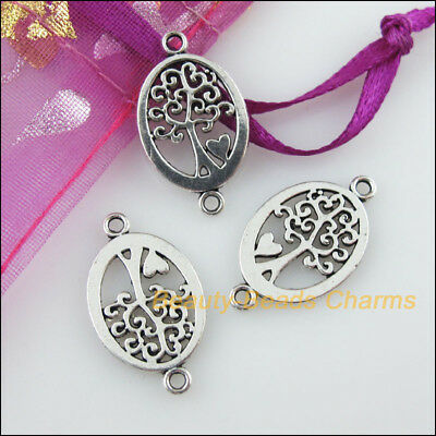 12 New Charms Oval Tree Heart Tibetan Silver Tone Pendants Connectors 13x23mm