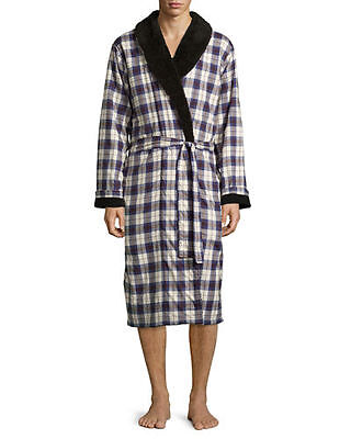 S UGG Australia Men's Kalib Navy Plaid Twill Fleece Lined Robe NWT