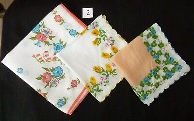 Vintage Lot of 3 Floral HANDKERCHIEF 2 White 1 Peach 2 w/ Sewed Scalloped Edging