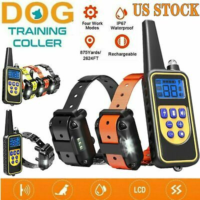 Waterproof Dog Shock Training Collar 875 Yard With Remote Electric For Large Pet