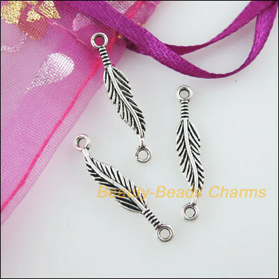15 New Charms Leaf Feather Tibetan Silver Tone Pendants Connectors 4.5x24.5mm