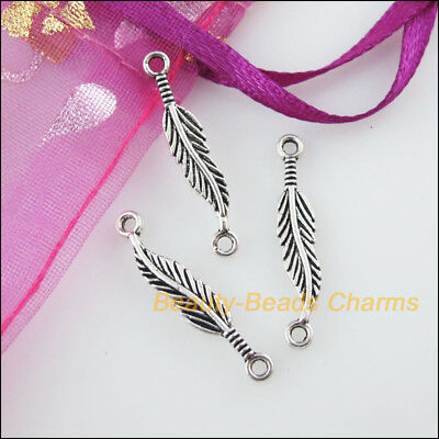 30 New Charms Leaf Feather Tibetan Silver Tone Pendants Connectors 4.5x24.5mm