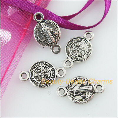 30 New Charms Round Jesus Tibetan Silver Tone Pendants Connectors 9x15mm