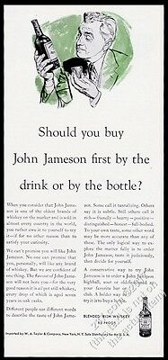 1953 John Jameson Irish Whiskey By the Drink or the Bottle vintage print ad