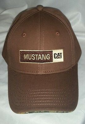#203 Mustang CAT  Brown with Camo Under the Brim Hat/Cap Adjustable Back NWOT
