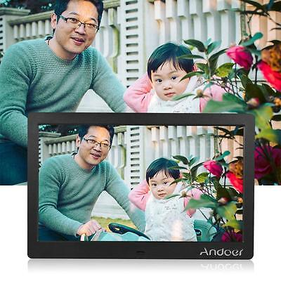 """Andoer 10"""" HD LCD Digital Photo Picture Frame Clock MP3 MP4 Video Player US I3E9"""