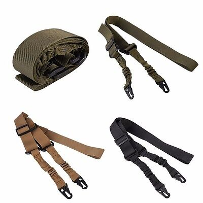 Adjustable Tactical Two 2 Point Rifle Gun Sling Dual Bungee Strap Snap Hook