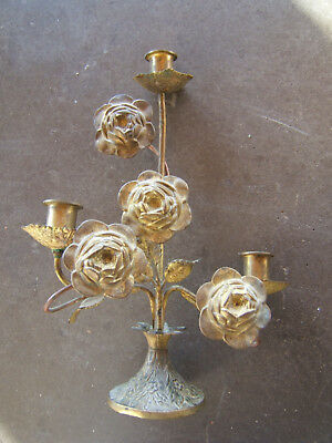 FRENCH ART DECO BRASS AND BRONZE  C1930 CANDELSTICK Lights candel Gold 3 HEADED