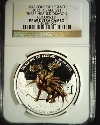 2013 Tuvalu 3 Headed Dragon of Legend Colorized $1 Proof NGC PF69 Ultra Cameo