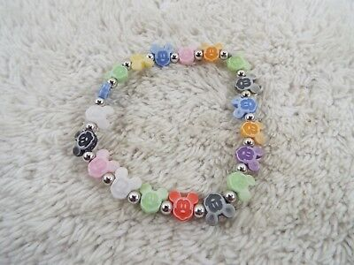Colorful Mickey Mouse Head Bead Bracelet (C78)