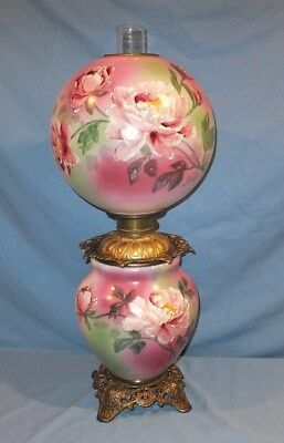 Large Jumbo victorian 1890's Hand Painted Pink rose Gone with The wind Oil lamp