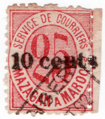 (I.B) French Morocco Local Post : Mazagan 10c on 25c OP