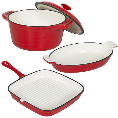Cast Iron Dishes Set of 3 Casserole, Gratin & Griddle Set Oven to Table Cookware