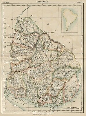 Uruguay: Authentic 1889 Map showing Cities; Rivers; Mountains; Topography