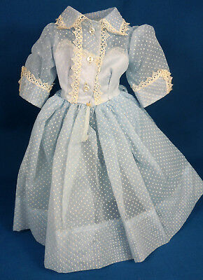Vintage Cissy Tagged Blue Nylon Dotted Swiss Doll Dress Madame Alexander 1950s