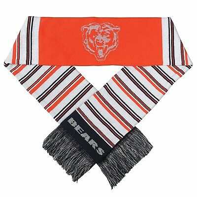 """Chicago Bears Football NFL Reversible 60"""" Glitter Stripe Knit Acrylic Scarf Ugly"""