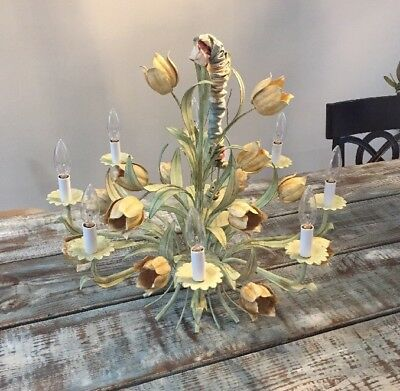 Amazing Vintage Tole 8 Light Italian Chandelier Flowers Hand Painted Shabby