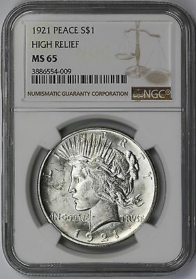 1921 $1 NGC MS 65 (Key Date) High Relief Peace Dollar