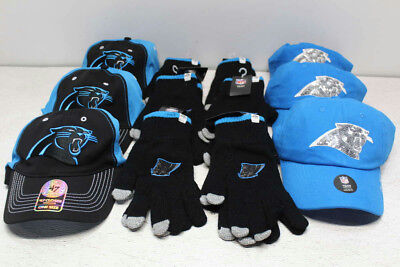 Carolina Panthers NFL Lot of 6 Hats and 6 Pairs of Gloves