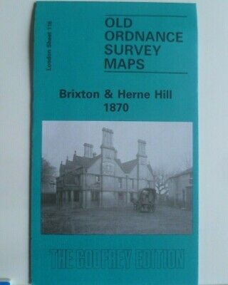 Old Ordnance Survey Maps Brixton & Herne Hill  London 1870 Godfrey Edition New