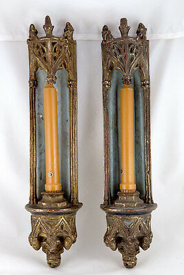 Antique GILDED 19th Century CANDLE WALL SCONCES Gothic Pair of Early Americana