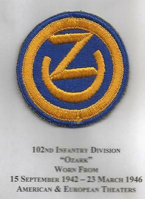 WW 2 US Army 102nd Infantry Division Patch Inv# JR161