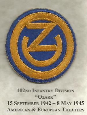 WW 2 US Army 102nd Infantry Division Patch Inv# JR159