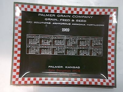 1969 Advertising Glass  Tray Palmer Kansas Grain