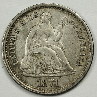 1871-s  Seated Liberty Half Dime.  Natural A.U.  84716