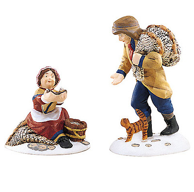 Dept 56 Dickens Village - Treasure From The Sea 58461 Set 2 Oyster Peddlers New