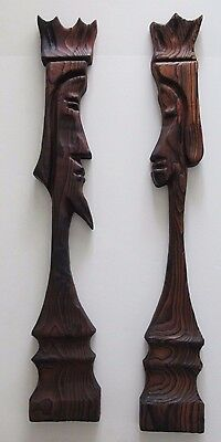 Vintage Witco Pair King And Queen Wood Sculpture Modernist Abstract Mid Century