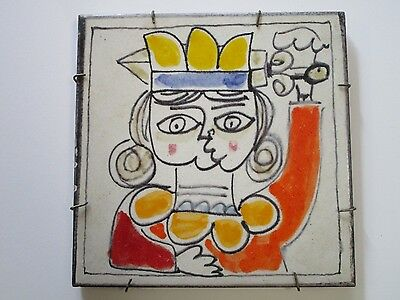 Vintage Picasso Style Wall Hanging Tile Painting Abstract Expressionism Cubism