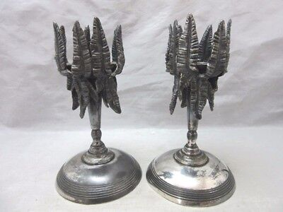 Unique James Tufts Boston Silverplate candlesticks. Palm trees