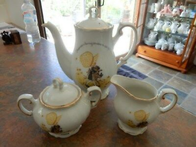 Vintage Holly Hobbie Yellow Girl Tea Pot Or Coffee Pot Sugar Bowl And Milk Jug
