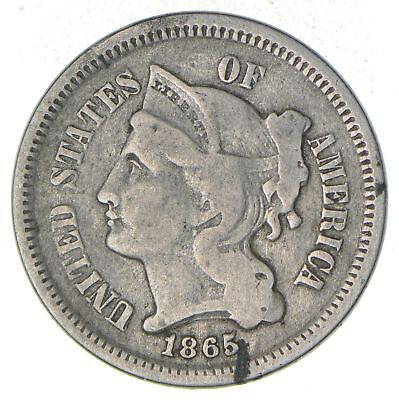 ***3***THREE***Cent*** - 1865 Three Cent Nickel Piece - Tough to Find *393