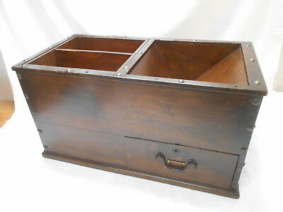 Antique Sugi Keyaki Wood Temple Money Collection Box C1890s Japanese Draw #726